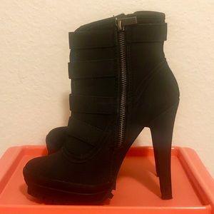 Black Platform Heel Booties